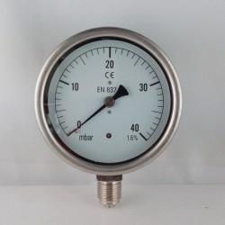 Manometro 40 mBar diametro dn 100mm radiale