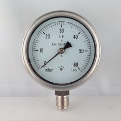 Capsule pressure gauge 60 mBar diameter dn 100mm bottom