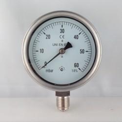 Manometro 60 mBar diametro dn 100mm radiale