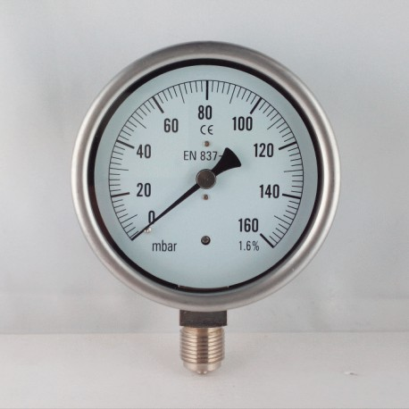 Capsule pressure gauge 160 mBar diameter dn 100mm bottom