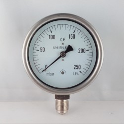 Capsule pressure gauge 250 mBar diameter dn 100mm bottom