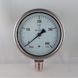 Capsule pressure gauge 400 mBar diameter dn 100mm bottom