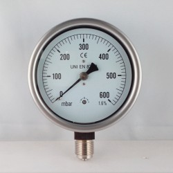 Capsule pressure gauge 600 mBar diameter dn 100mm bottom