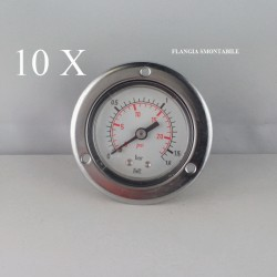 "10 pz Manometri Flangia 1.6 Bar diametro dn 50mm posteriore 1/4""Gas"