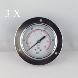 "3 pcs Dry pressure gauges flanged 1 Bar diameter dn 63mm 1/4""Bspp connection"