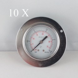 "10 pcs Dry pressure gauges flanged 2.5 Bar diameter dn 63mm 1/4""Bspp connection"