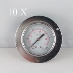 "10 pz Manometri Flangia 2.5 Bar diametro dn 63mm posteriore 1/4""Gas"