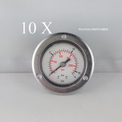 "10 pz Manometri Flangia 16 Bar diametro dn 50mm posteriore 1/4""Gas"