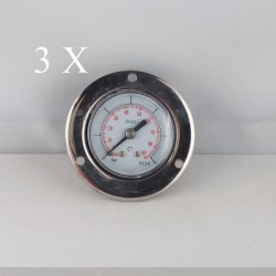 "3 pcs Dry pressure gauges flanged 6 Bar diameter dn 40mm 1/8""Bspp connection"