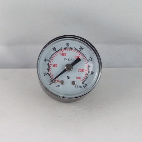 Manometro 160 Bar diametro dn 40mm posteriore