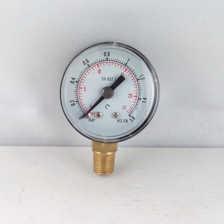 Dry pressure gauge 1,6 Bar diameter dn 40mm bottom
