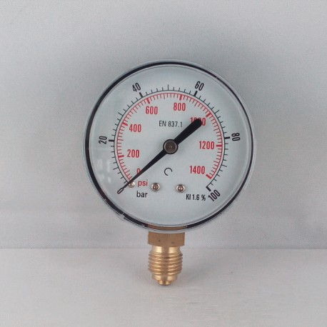 Dry pressure gauge 100 Bar diameter dn 63mm bottom