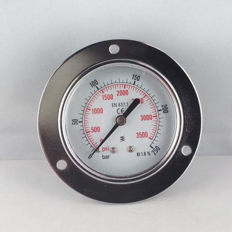 Dry pressure gauge 250 Bar diameter dn 63mm front flange