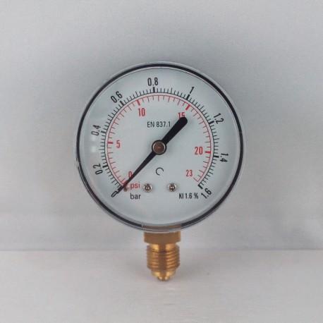 Dry pressure gauge 1,6 Bar diameter dn 63mm bottom