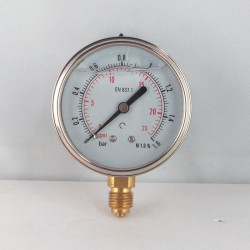 Glycerine filled pressure gauge 1,6 Bar diameter dn 63mm bottom