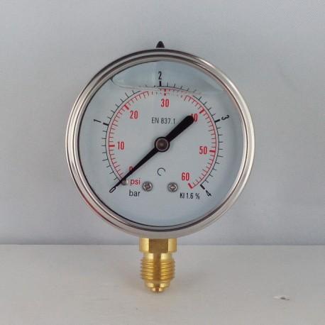 Glycerine filled pressure gauge 4 Bar diameter dn 63mm bottom