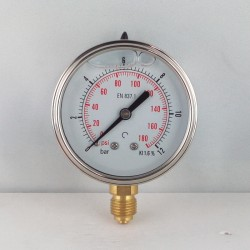 Glycerine filled pressure gauge 12 Bar diameter dn 63mm bottom