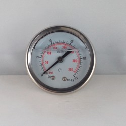 Glycerine filled pressure gauge 25 Bar diameter dn 50mm back