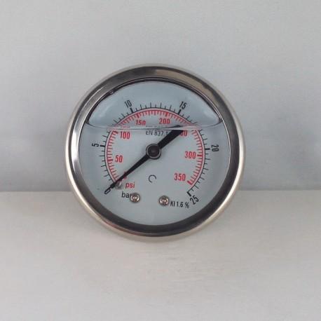 Glycerine filled pressure gauge 25 Bar diameter dn 50mm back