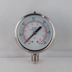 Stainless steel pressure gauge 0,6 Bar diameter dn 63mm bottom