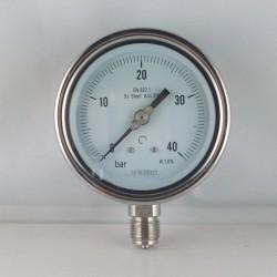 Stainless steel pressure gauge 40 Bar diameter dn 100mm bottom