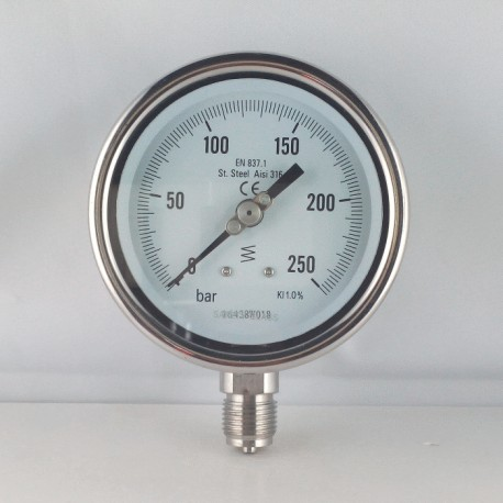 Stainless steel pressure gauge 250 Bar diameter dn 100mm bottom