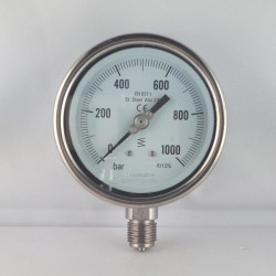 Stainless steel pressure gauge 1000 Bar diameter dn 100mm bottom