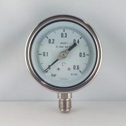 Stainless steel pressure gauge 0,6 Bar diameter dn 100mm bottom