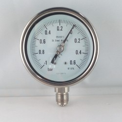Stainless steel compound gauge -1/0,6 Bar diameter dn 100mm bottom