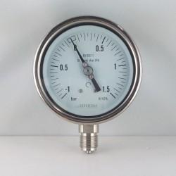 Manovuotometro Inox -1/1,5 Bar diametro dn 100mm radiale