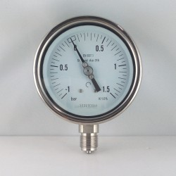 Stainless steel compound gauge -1/1,5 Bar diameter dn 100mm bottom