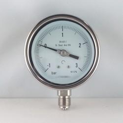 Manovuotometro Inox -1/3 Bar diametro dn 100mm radiale