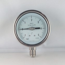 Stainless steel compound gauge -1/5 Bar diameter dn 100mm bottom