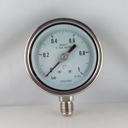 Manometro Inox 1 Bar diametro dn 100mm radiale
