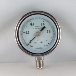 Stainless steel pressure gauge 1 Bar diameter dn 100mm bottom