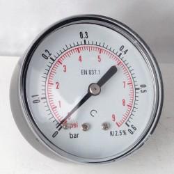 Dry pressure gauge 0,,6 Bar diameter dn 63mm back