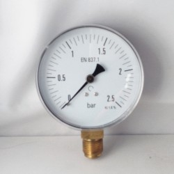 Dry pressure gauge 2,5 Bar diameter dn 100mm bottom