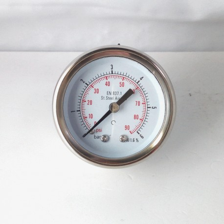 Stainless steel pressure gauge 6 Bar diameter dn 50mm back