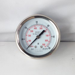Stainless steel pressure gauge 60 Bar diameter dn 63mm back