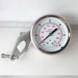 Manometro Inox 60 Bar diametro dn 63mm staffa