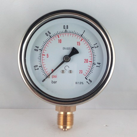 Glycerine filled pressure gauge 1,6 Bar diameter dn 100mm bottom