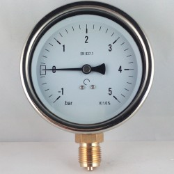 Glycerine filled compound gauge -1+5 Bar diameter dn 100mm bottom
