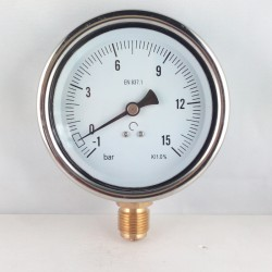 Glycerine filled vacuum gauge -1+15 Bar diameter dn 100mm bottom