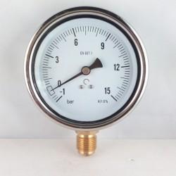 Manovuotometro glicerina -1+15 Bar diametro dn 100mm radiale