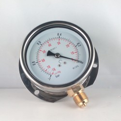 Glycerine filled vacuum gauge -1 Bar wall flange dn 100mm