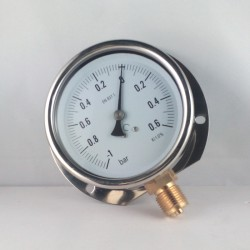 Glycerine filled compound gauge -1+0,6 Bar wall flange dn 100mm