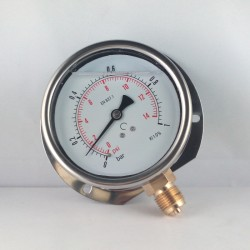 Glycerine filled pressure gauge 1 Bar wall flange dn 100mm