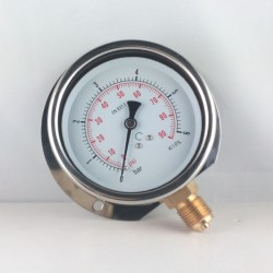 Glycerine filled pressure gauge6 Bar wall flange dn 100mm