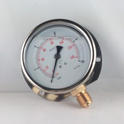 Glycerine filled pressure gauge 10 Bar wall flange dn 100mm