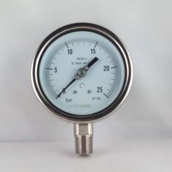 """Manometro Inox 25 Bar diametro dn 100mm rad. 1/2"""" NPT"""